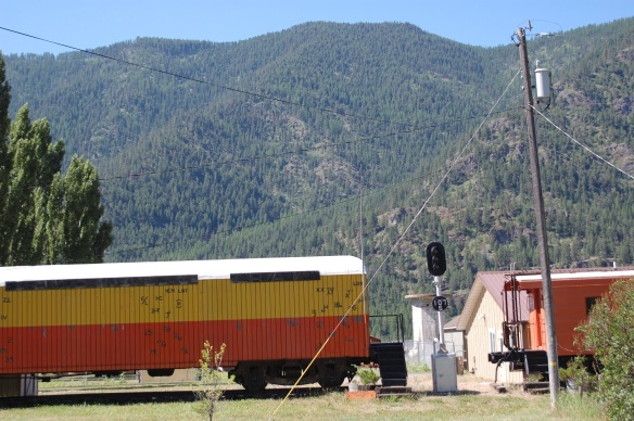 Resting train in Alberton, MT (notice the cattle brand decorations)