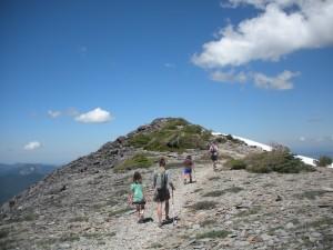 Hiking along the treacherous trail