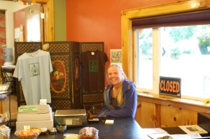 Maggie at the counter