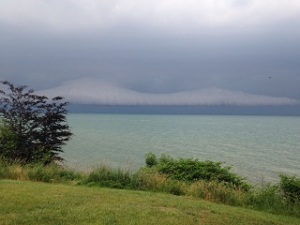 Crazy clouds gathering over Lake Erie